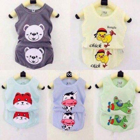 5 bộ quần áo trẻ em  -- -  quần áo cho bé cotton ba lỗ