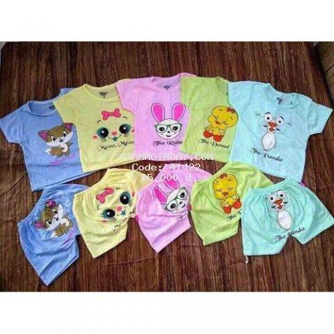 5 bộ quần áo trẻ em - quần áo cho bé cotton cộc chui