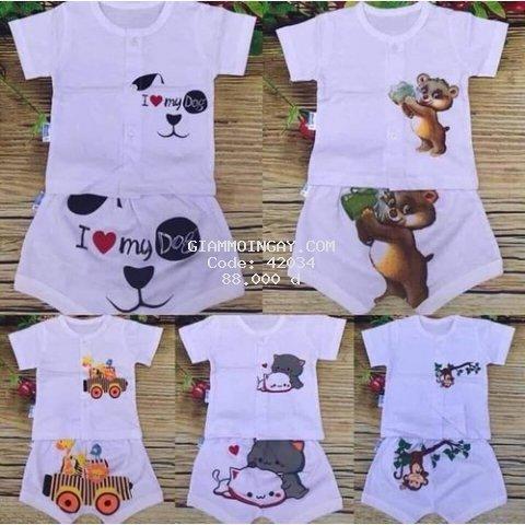 5 bộ quần áo trẻ em - quần áo cho bé cotton cộc khuy giữa