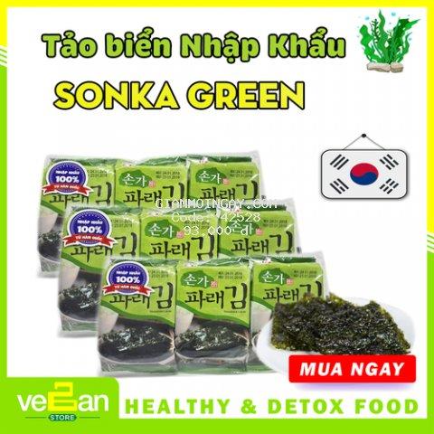 [ĂN VẶT GIẢM CÂN] Combo 3 Lốc Tảo Biển Sonka Green 3 Lốc x 3 Gói x 5gr - Vegan Store - Vegan Snack - Healthy Snack - Nhập Khẩu Hàn Quốc - GODBAWEE