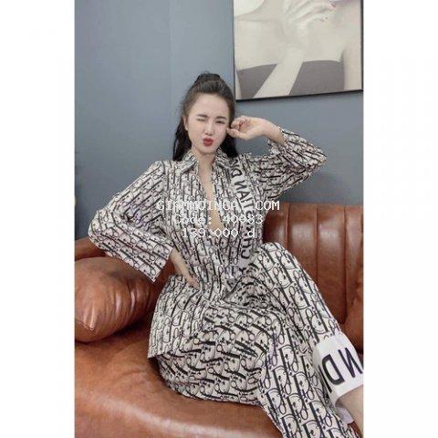 (Ảnh tự chụp)Bộ Pijama SATIN lụa tay dài hoạ tiết chữ siêu đẹp, siêu sang