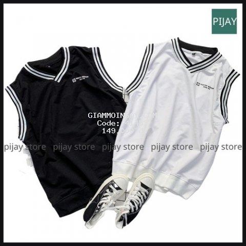 Áo GILE vải thun da cá tici Nam Nữ Unisex viền cổ 2 sọc trắng đen form rộng phối sơ mi phong cách Hàn Quốc