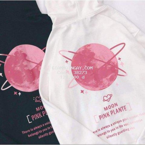 Áo Hoodie Nam,Nữ Mặt Trăng Pink Plante Có Túi Cực Teen Chất Vải Dày Ấm Áp