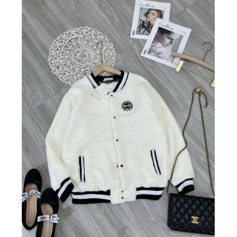 áo khoác lông nữ thể thao có lô gô hàng Italy's màu trắng