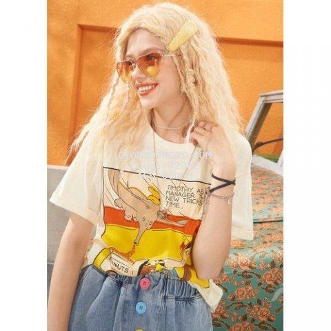Áo phông nữ ngắn tay Dumbo Peanut màu vàng siêu cưng chất cotton cực đẹp
