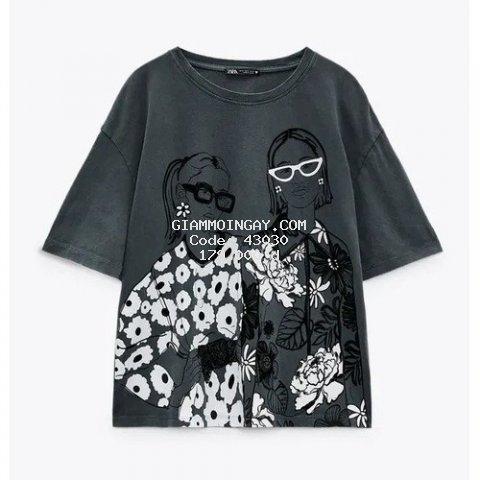 Áo phông nữ ngắn tay Girl Kính Black màu đen cá tính chất cotton 100%