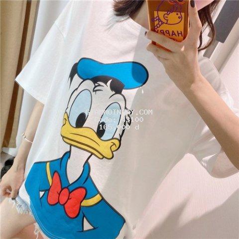 Áo phông nữ ngắn tay in hình vịt Donald nơ đỏ 2 mặt cực cute