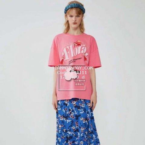 Áo phông nữ ngắn tay màu hồng Flora xinh xắn chất cotton xịn mát