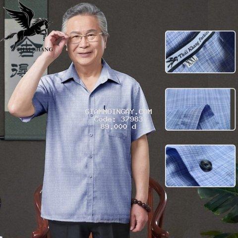 Áo sơ mi đũi nam tay ngắn trung niên SIÊU MÁT mặc thoải mái loại áo sơ mi cho người lớn tuổi caro OG58