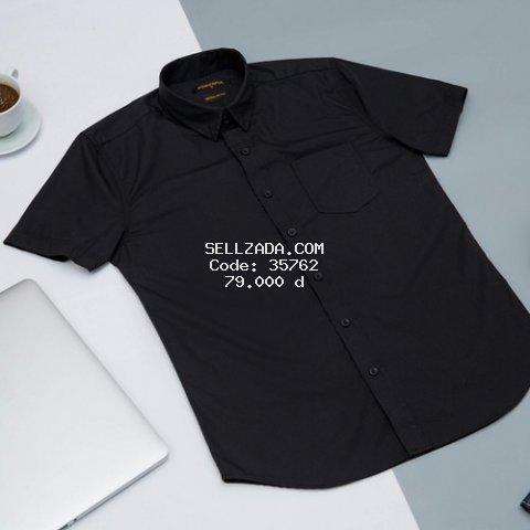 Áo sơ mi nam đen cộc tay cao cấp 100% cotton