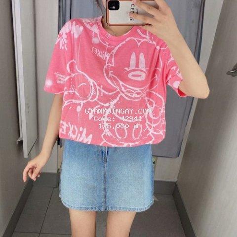 Áo thun nữ ngắn tay Croptop hồng hình Mickey chất cotton mướt mịn cao cấp