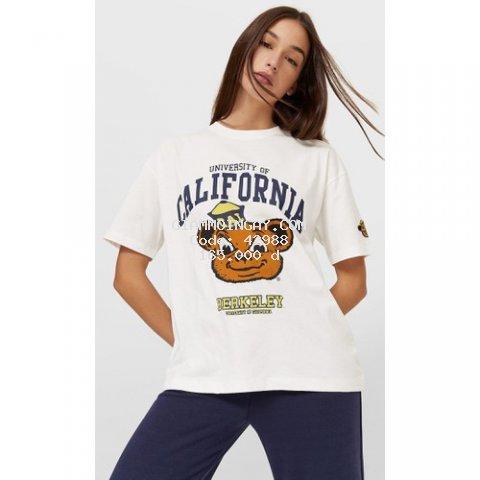 Áo thun nữ ngắn tay hàng xuất in chữ University of California siêu hot