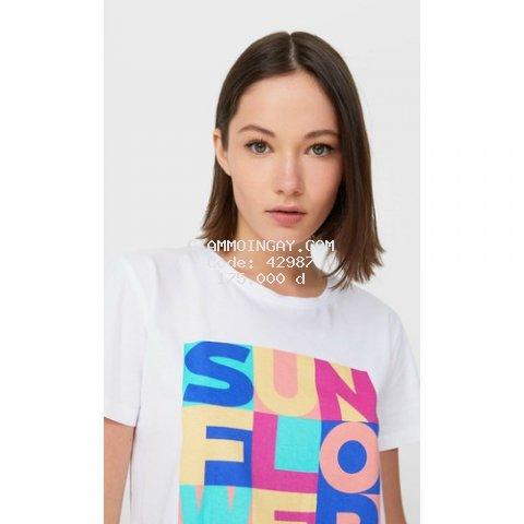 Áo thun nữ ngắn tay in chữ Sunflower sắc màu tươi tắn cực xinh chất cotton 100%