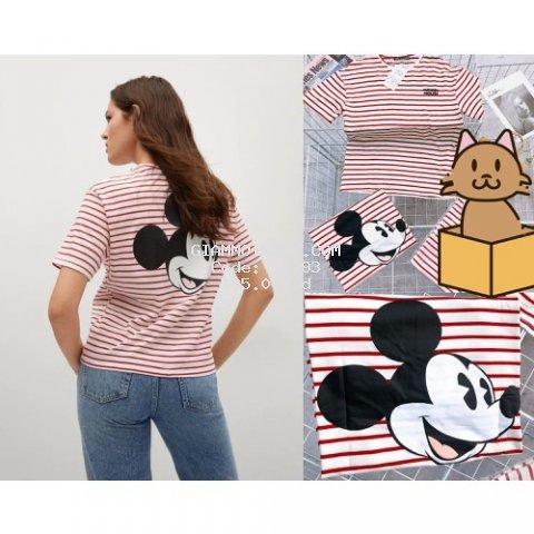 Áo thun nữ ngắn tay sọc hồng in hình chuột Mickey siêu xinh chất cotton 100%