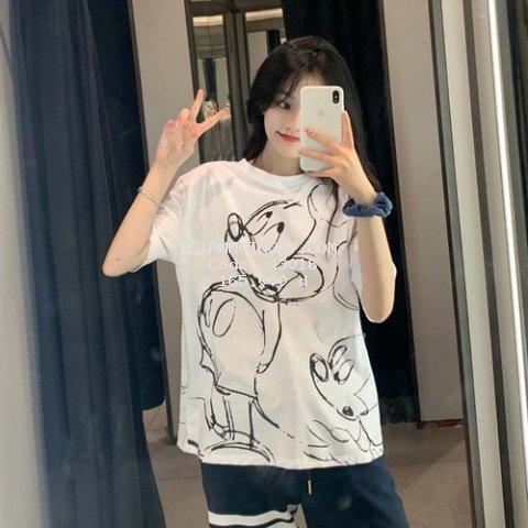 Áo thun nữ ngắn tay Zara in hình chuột Mickey siêu xinh chất xịn