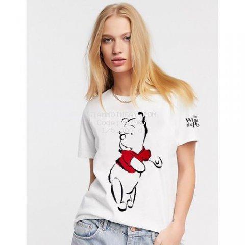 Áo thun nữ ngắn tay ZR gấu Pooh xuất xịn mẫu mới nhất chất liệu 100% cotton