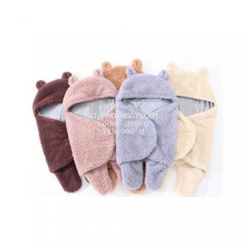 Áo ủ lông cho bé - Túi ngủ cao cấp , Chăn quần dạng khăn ủ kén quấn nhộng lông cừu cho trẻ sơ sinh đến 6 tháng tuổi