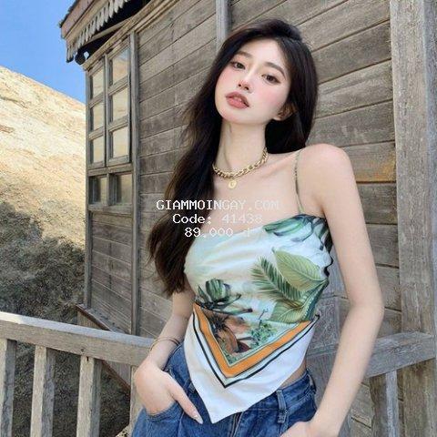 Áo Yếm Nữ 2 Dây Hoa Lá , Yếm Nữ Mút Ngực Họa Tiết In 5D