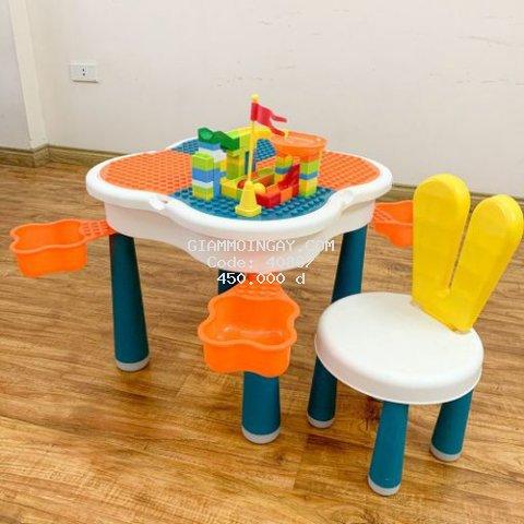 Bàn lego cho bé đa năng hình hoa anh đào đủ bộ có ghế