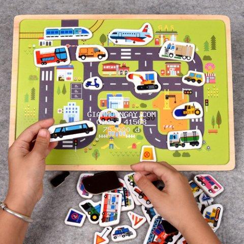 Bảng dính nam châm vườn thú, Bảng dính nam châm phương tiện giao thông, Đồ chơi thông minh Bibisu Shop