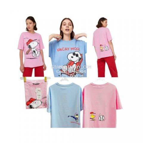 Best seller - Áo thun nữ ngắn tay in hồng Snoopy cực ngộ nghĩnh đáng yêu chất cotton xịn đẹp