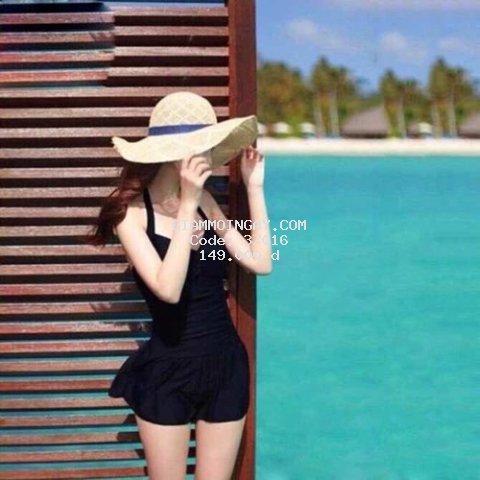 Bikini, Đồ Bơi Đi Biển Một Mảnh Liền Thân Cột Dây Cổ Váy Xòe - Mẫu 1