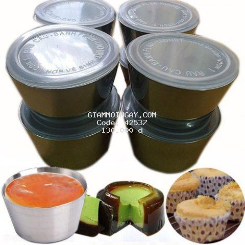 Bộ 10 Khuôn Làm Bánh Inox 304 Có Nắp 7cm Làm Bánh Flan , Rau Câu , Cupcake, Làm Đá Không Gỉ