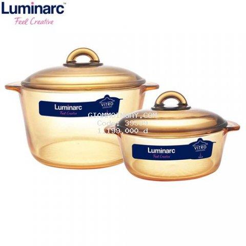 Bộ 2 nồi thủy tinh Luminarc Amberline Granite 2L -3L (Đáy nhám hoa văn chống trượt)