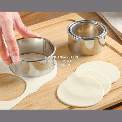 Bộ 3 khuôn Cutter tròn trơn hay tròn ren cắt bột làm bánh xếp sủi cảo há cảo hay nui kiểu ý