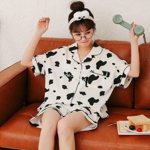Bộ Đồ Pijama Nữ Lụa Kate Thái Mặc Nhà Mịn Mát Dễ Thương