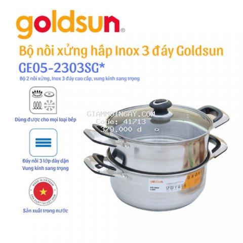 Bộ  nồi  xửng hấp đáy từ Goldsun GE05-2303SG