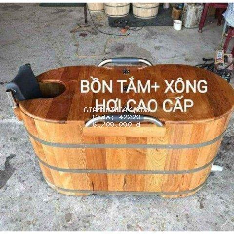 Bồn Tắm Gỗ Xông Hơi Bo ViềnTay Vịn Cao Cấp