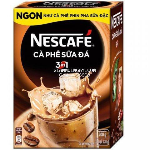 CAFE sữa đá Nescafe hộp 10 gói 200g - HSD 2022