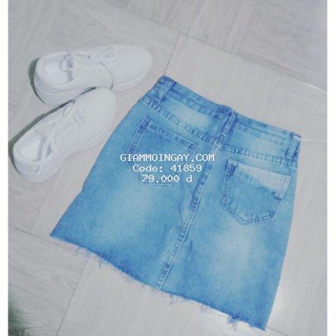Chan vay chu A ngan chat lieu jean  rach thoi trang  mau xanh  hang quang chau