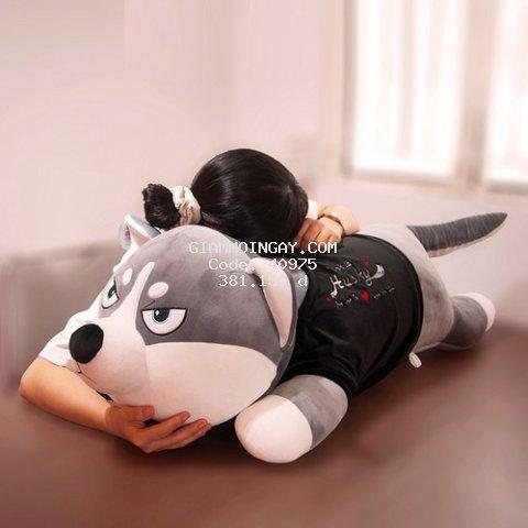 Chó Husky bông siêu to khổng lồ ️ RẺ VÔ ĐỊCH ️ Gấu bông to chất Lông nhung mềm mịn co dãn 4 chiều - quà tặng ý nghĩa Siêu đẹp-siêu bền-an toàn