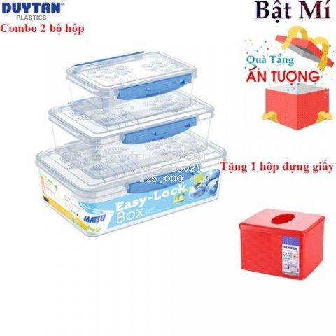 COMBO 2 Bộ 3 Hộp Gài Matsu Duy Tân Trong Suốt 820ml - 1600ml - 2600ml- TẶNG KÈM HỘP ĐỰNG GIẤY ĂN