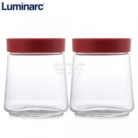 Combo 2 Hũ Thủy Tinh Luminarc P5282 750ml Nắp Đỏ