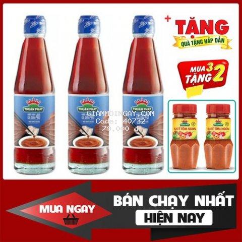 Combo 3 chai nước Mắm Cá Cơm Thuận Phát 40N chai 250ml [Hết quà tặng kèm]