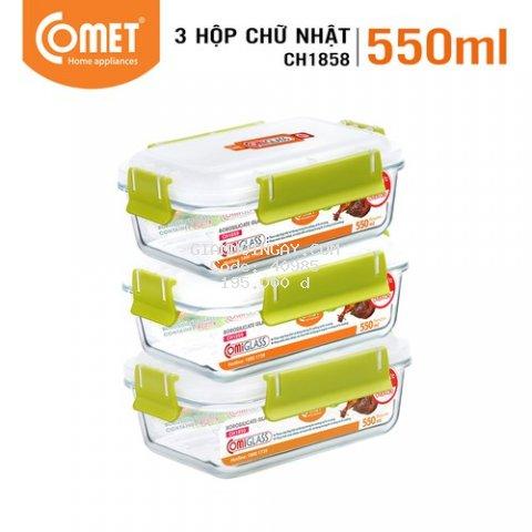 Combo 3 hộp đựng thực phẩm thuỷ tinh 550ml COMET CH18-58