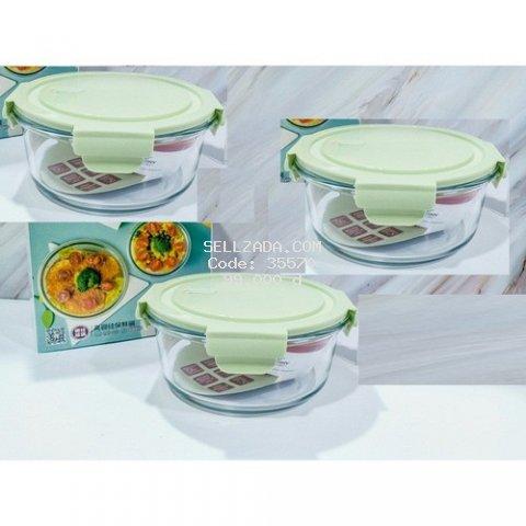 COMBO 3 Hộp đựng thực phẩm thủy tinh dùng cho lò vi ba chịu nhiệt cao cấp