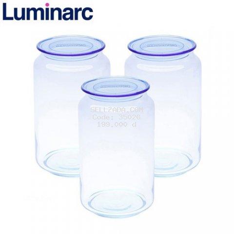 Combo 3 hũ thủy tinh Luminarc Rondo Ice Blue 1L L0364 - Xanh dương