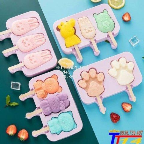 Combo 3 khuôn làm kem silicon có lắp đậy tặng kèm 150 que gỗ làm kem