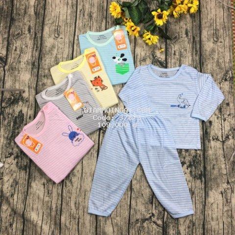 Combo 5 Bộ quần áo dài tay cotton kẻ cúc cài vai cho bé 4-13kg - BDK01405 - (ẢNH - VIDEO THẬT)Bộ quần áo thu đông trẻ em , quần áo dài sơ sinh