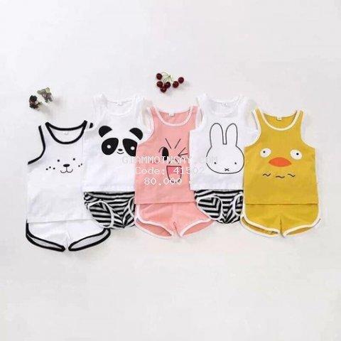 Combo 5 bộ quần áo trẻ em ba lỗ - CHIP THỎ