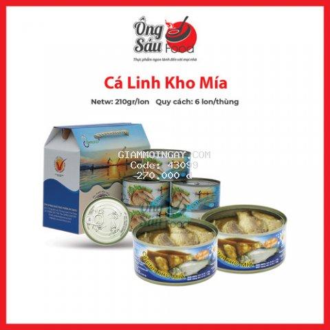 Combo 6 lon Cá Linh Kho mía thơm ngon chất lượng nhãn hàng Antesco uy tín