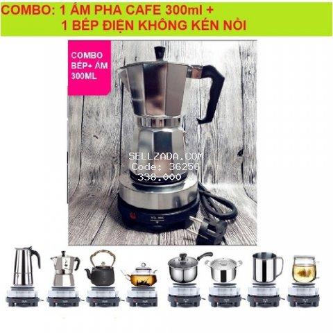 Combo bình pha cà phê moka pot express 300 ml 6 tách kèm bếp điện