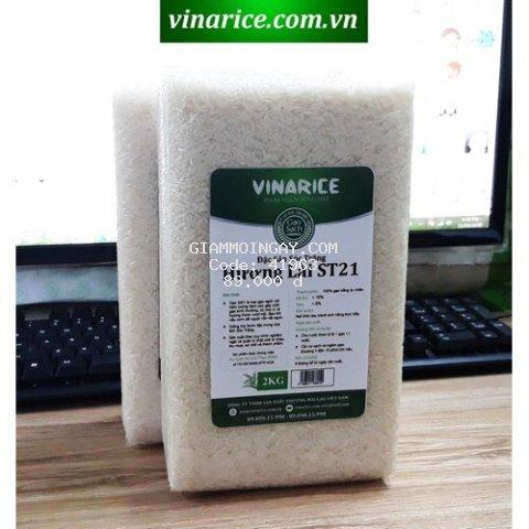 Combo Gạo Đặc Sản Sóc Trăng Hương Lài ST21 - Túi ép chân ko 4kg - thơm ngon đặc biệt