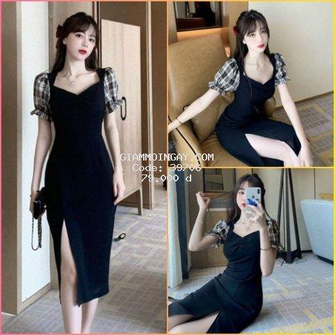 Đầm đen xẻ tà phối tay caro cách điệu dài qua gối, ĐẦM PHỐI TAY CARO XẺ TÀ
