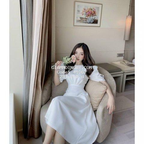 Đầm dự tiệc cao cấp, váy trắng tay bồng nhún eo dáng xòe chất liệu lụa