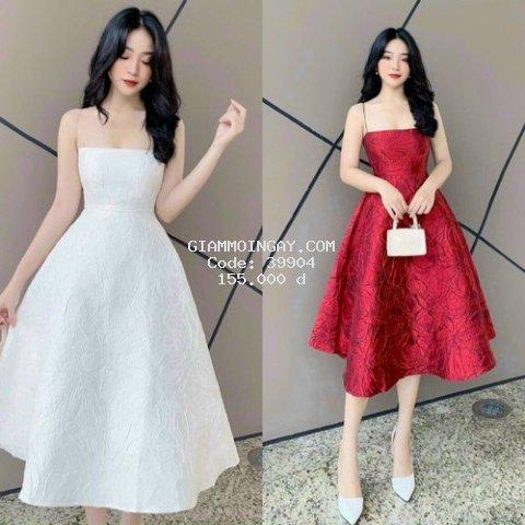 Đầm Nữ Đầm Dự Tiệc Gấm 2 Dây Siêu Xinh